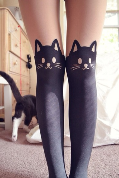 cats cute underwear tights