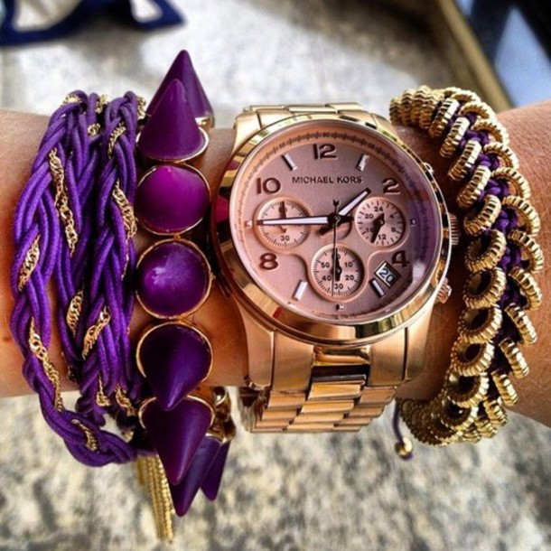 jewels gold purple watch rose gold bracelets spike spikes bag hat uhr spiked bracelet purple jewelry rose gold jewelry rose gold watch michaekors