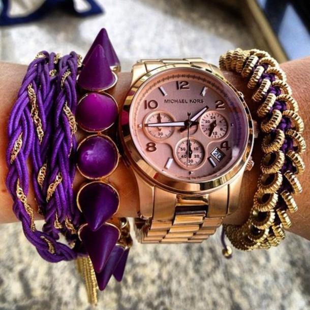 jewels gold purple watch rose gold bracelets spike spikes bag spike bracelets purple jewelry rose gold jewelry rose gold watch michaekors hat uhr