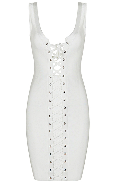 Front Lace Up Bandage Dress White