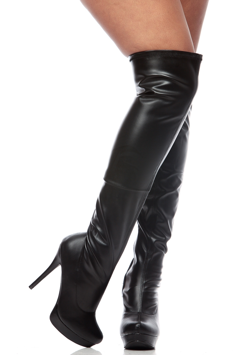 Thigh High Black Leather Boots - Cr Boot