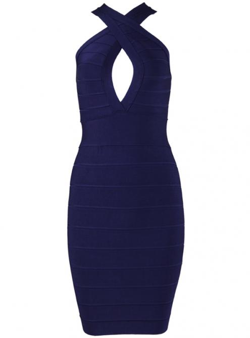 Dark Blue Cross Hollow Bandage Dress H511$99