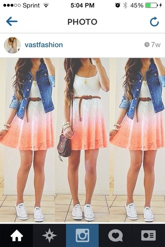 dress ombre dress jacket bag white dress short peach dresses short dress peach dress shoes denim jacket orange dress summer summer outfits shop gloves hair accessory hat home accessory jeans belt coat jewels shirt orange