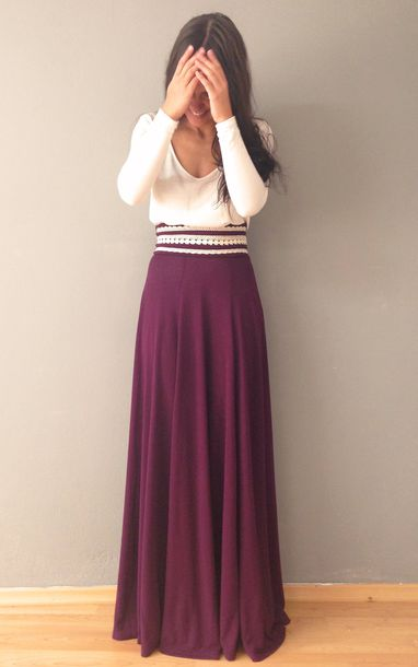 Skirt: burgundy, maxi skirt, clothes, sweater, burgundy, red ...