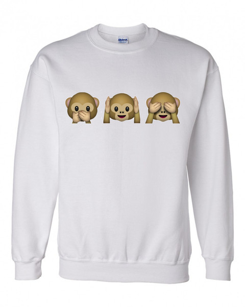 Three monkeys emoji crewneck sweatshirt