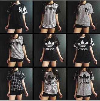 t-shirt cool top black top white top stripes