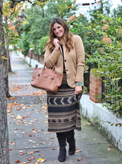 fashion foie gras,blogger,sweater,jacket,jewels,skirt,shoes,bag,blazer,beige jacket,handbag,fall outfits,boots