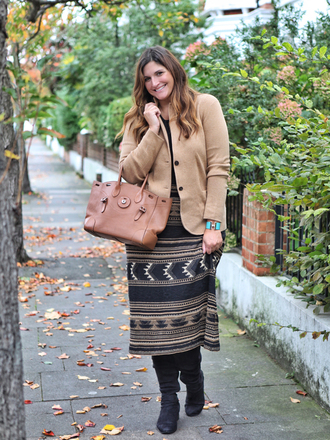 fashion foie gras blogger sweater jacket jewels skirt shoes bag blazer beige jacket handbag fall outfits boots