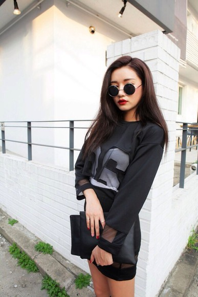 black mesh long sleeve shirt crop tops t-shirt black jersey black skirt skirt sunglasses dress blouse
