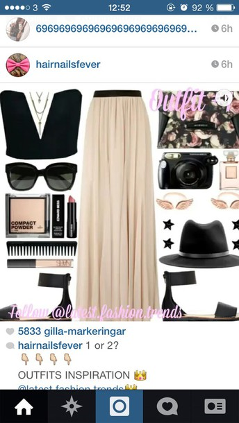 black skirt jewels shoes hair accessory make-up bag sunglasses top