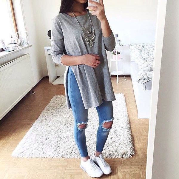 Grey Side Slit Tunic Sweater