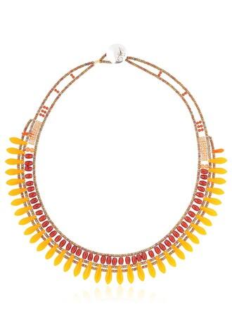beaded necklace orange jewels