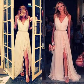 dress prom elegant bridesmaid slit dress beautiful gown vanessawu