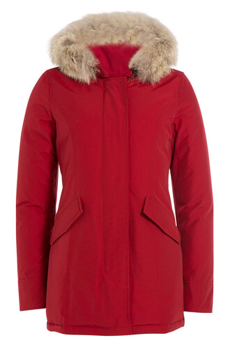 parka fur red coat