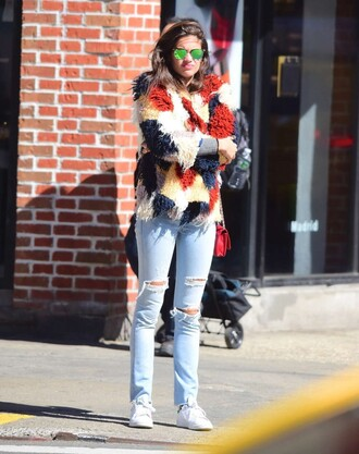 jacket colorful sara sampaio model off-duty ripped jeans sneakers spring outfits sunglasses
