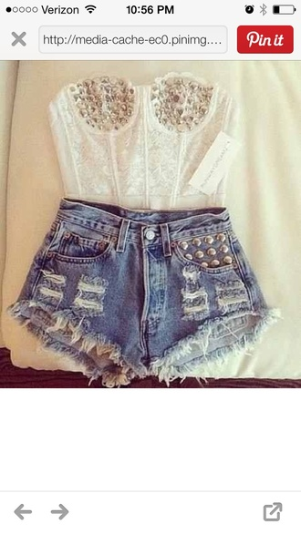shorts crop tops studded shorts bustiers tank top