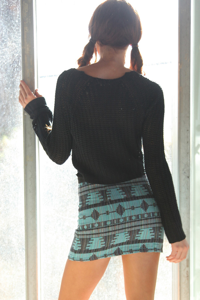Aztec Printed Canvas Skirt-Blue Rain | Obsezz