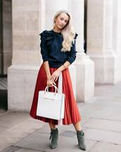 shoes,navy top,white bag,ted baker,boots,green boots,ankle boots,skirt,red skirt,midi skirt,pleated,pleated skirt,top,navy,bag