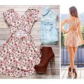 dress,obsezz,floral,floral dress,criss cross,criss cross back,fashion,stylish