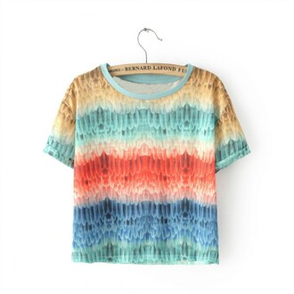 t-shirt print casual high waisted topshop rainbow rainbow shirt streetstyle printed t-shirt fashion woman t-shirt