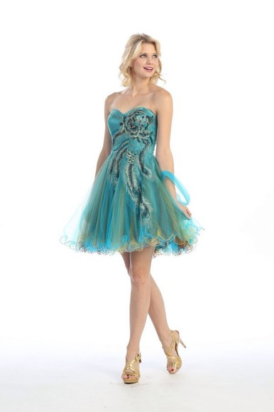 peacock dress prom dress short dress blue peacock dress teal