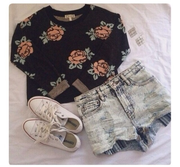 swimwear rose shorts sweater