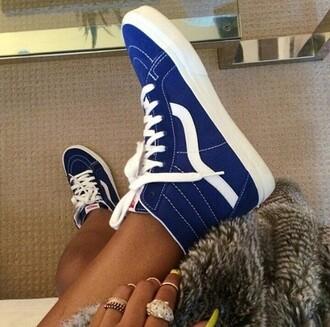 blue vans vans blue shoes hi top vans of the wall vans sk8 vans sk8 hi vans girls
