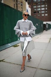 sweater,all grey everything,All grey outfit,metallic pleated skirt,pleated skirt,metallic,silver,grey sweater,bell sleeve sweater,pumps,sunglasses,blogger,atlantic pacific