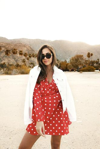 kenza blogger dress jacket bag red dress polka dots white jacket