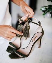 shoes,tumblr,green shoes,sandals,sandal heels,high heel sandals,tassel,suede sandals