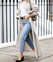 jeans,tumblr,blue jeans,denim,cropped jeans,high heels,black heels,mules,belt,t-shirt,white t-shirt,coat,nude coat,duster coat,trench coat