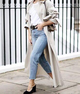 jeans tumblr blue jeans denim cropped jeans high heels black heels mules belt t-shirt white t-shirt coat nude coat duster coat trench coat