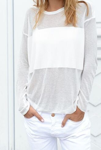 blouse white light longsleeve summer spring block jeans shirt see through crewneck scoopneck