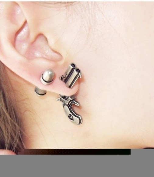 jewels gun earings gold earings gun earing fun fashion