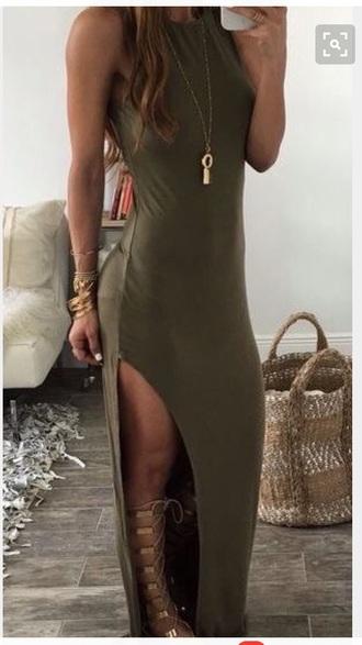 dress maxi dress slit dress summer need  green dress