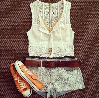 shirt white cute pretty lace lacy material gorgeous shorts shoes jewels tank top tumblr crochet knit blouse buttons zip heels cute blue shorts short belt