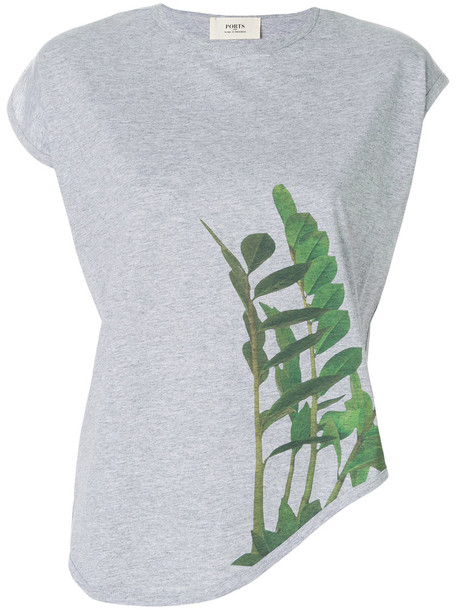 Ports 1961 - leaf print asymmetric T-shirt - women - Cotton - XL, Grey, Cotton