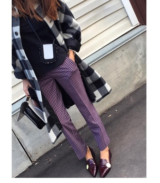 pants tumblr purple printed pants checkered top black top coat printed coat black and white bag fall outfits pointed flats flats