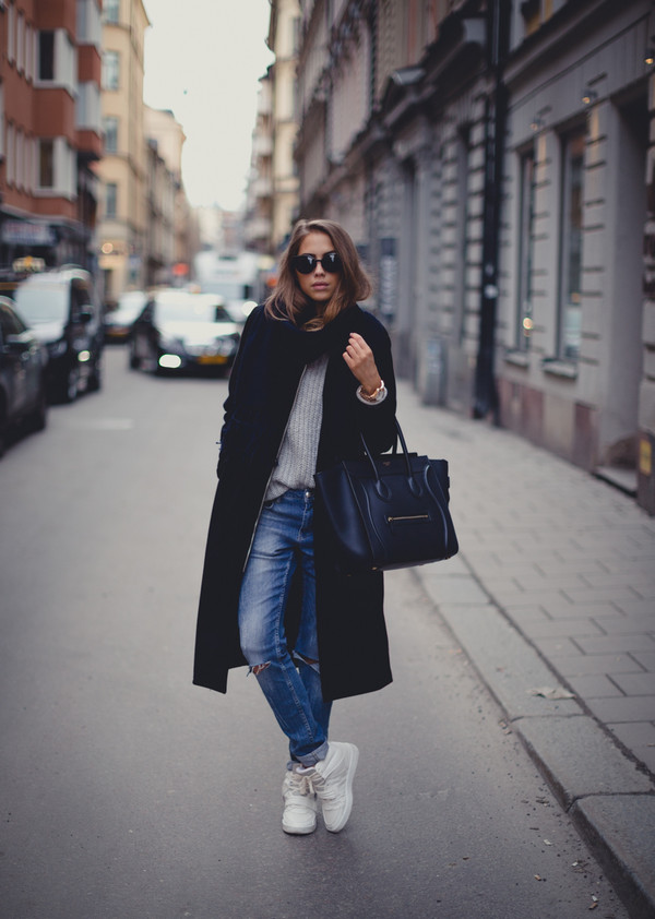 kenza coat jeans sweater scarf sunglasses shoes bag