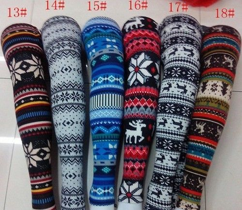 Fashion Womens Snowflake Reindeer Knitted Warm Leggings Tight Winter Pants | eBay
