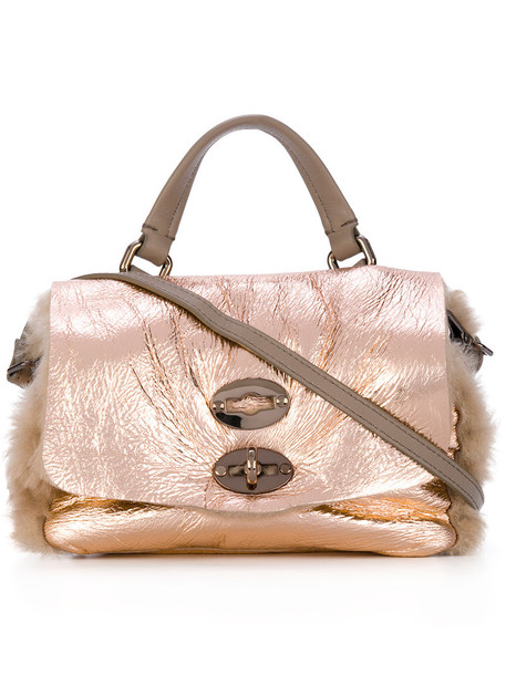 Zanellato mini fur women bag leather grey metallic