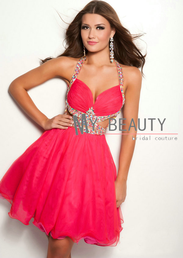 Aliexpress.com : Buy Customize Sexy Hot Pink A line Halter Organza Beading Short Homecoming Party Dresses Backless Cocktail Prom Dresses HHD029 from Reliable dress summer suppliers on 27 Dress
