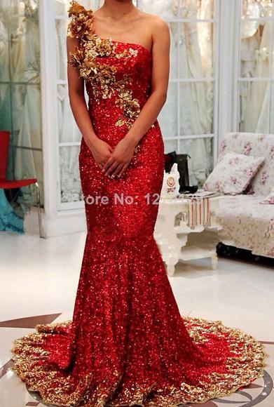 one shoulder red dress long dress