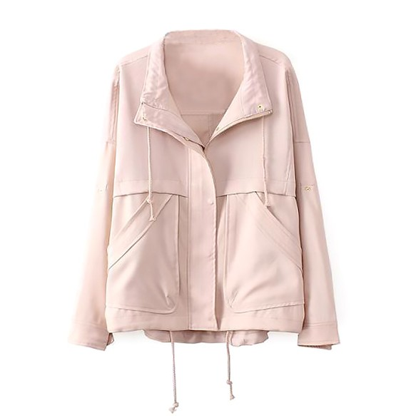 Dip Hem Blouson Jacket With Drawstring