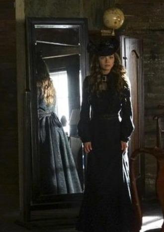 dress black victorian long scarlett byrne nora hildegard the vampire diaries tv series vintage