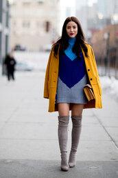 coat,nyfw 2017,fashion week,streetstyle,mustard,mustard coat,yellow coat,dress,mini dress,sweater dress,knitwear,mini knit dress,knitted dress,boots,grey boots,over the knee boots,over the knee,suede,suede boots