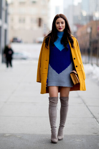 coat nyfw 2017 fashion week streetstyle mustard mustard coat yellow coat dress mini dress sweater dress knitwear mini knit dress knitted dress boots grey boots over the knee boots over the knee suede suede boots