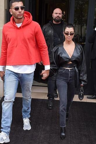 jeans top crop tops kourtney kardashian kardashians streetstyle paris fashion week 2017