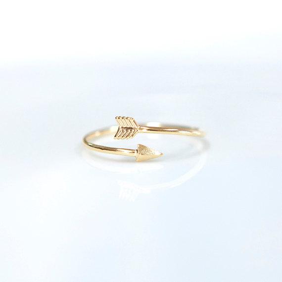 Arrow ring adjustable ring arrow wrap ring by claradesignstudio
