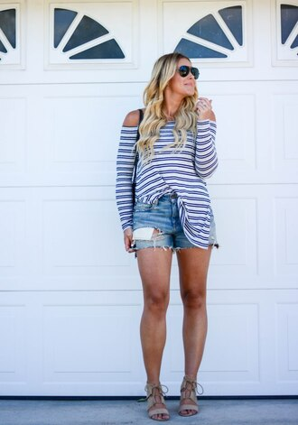 all dolled up blogger shorts bag sunglasses shoes stripes striped top long sleeves aviator sunglasses ripped shorts lace up lace up heels denim shorts lace up sandals nude sandals sandal heels high heel sandals summer outfits